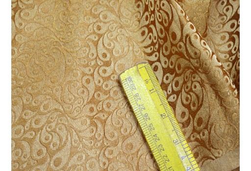 Banarasi blended silk brocade golden design fabric indian wholesale dark beige brocade by the yard occasion fabric curtain making material outdoor brocade online fabric hair crafting brocade tops fabric scrap booking projects brocade