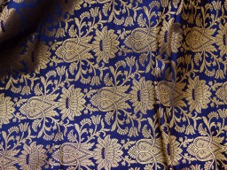 Beautiful benarse art silk brocade floral design fabric in Navy Blue and Gold