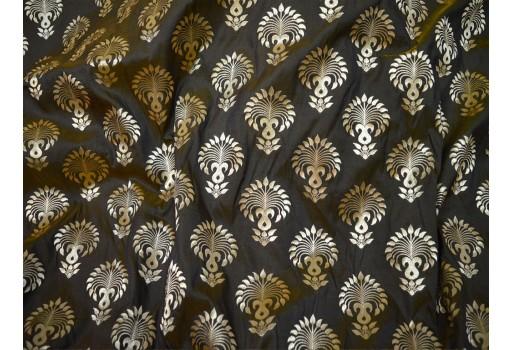 Banarasi Brocade fabric in Black Gold Bridal Wedding Dress Fabric Indian Brocade Fabric by the yard Banarasi Fabric for Lengha crafting