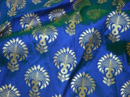 Banarasi Brocade fabric in Blue Gold Bridal Wedding Dress Fabric