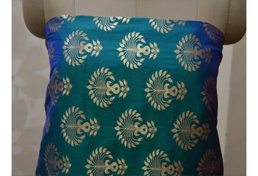 Banarasi Brocade fabric in Peacock Color Bridal Wedding Dress Fabric