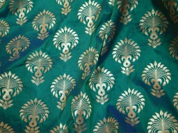 Banarasi Brocade fabric in Peacock Color..