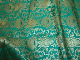 Banarasi silk brocade illustrate golden woven floral design fabric sea green brocade wholesale fabric by the yard online evening dress material mat making brocade furniture cover brocade clutches fabric bow-tie brocade