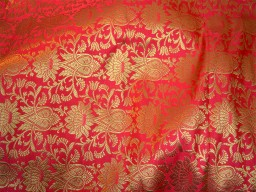 Crimson Red Brocade Fabric Banarasi Fabric Wedding Dress Fabric