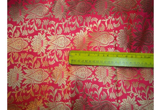 Benarasi Blended Silk Golden Design Red And Gold Brocade By The Yard Occasion Fabric Curtain Making Material Outdoor Hair Crafting Tops Scrap Booking Projects clothing accessories