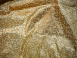 Brocade floral design fabric in Beige and Gold