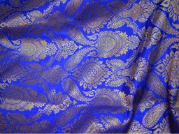 Brocade by the Yard Indian brocade Royal Blue Brocade Fabric
