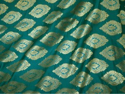 Benarasi blended silk brocade gold large leaves design fabric indian wholesale peacock green brocade by the yard occasion fabric curtain making material outdoor brocade online fabric hair crafting brocade tops fabric scrap booking projects brocade