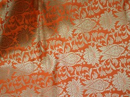 Benarasi blended silk brocade gold floral design fabric indian wholesale orange brocade by the yard occasion fabric curtain making material outdoor brocade online fabric hair crafting brocade tops fabric scrap booking projects brocade