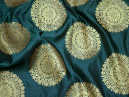 Benarasi blended silk brocade gold mandala design fabric indian wholesale dark green grey brocade by the yard occasion fabric pillow cover brocade outdoor fabric hair crafting brocade tops fabric scrap booking projects brocade