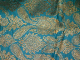 Blue Brocade Fabric Sewing Fabric Crafting Costume Dress Fabric