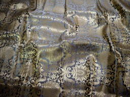 Blended silk brocade floral design fabric in Grey and Gold