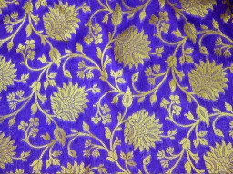 Blue Silk Brocade Fabric Floral Pattern Weaving Indian Silk