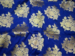 Blue Silk Brocade Fabric Banaras Brocade Silk Blue Gold