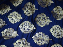 Banarasi silk brocade floral design fabric in Blue and Gold