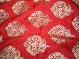Carrot Red Silk Brocade Fabric Banarasi Silk Brocade Fabric