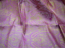 Blended silk brocade floral design fabric in Lilac and Gold