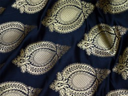 Black Brocade Fabric by the yard Banarasi Fabric Wedding Dress Fabric