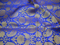 Indian  silk wholesale fabric blended royal blue brocade by the yard headband material banarasi jacket fabric midi dress brocade golden floral design fabric bow tie making brocade online home furnishing fabric skirts