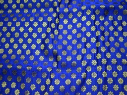 Beautiful brocade leafs motifs design fabric in Royal Blue and Gold