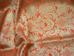 Banarasi blended silk brocade golden design fabric indian wholesale orange brocade by the yard occasion fabric pillow cover brocade outdoor fabric hair crafting brocade tops fabric scrap booking projects brocade