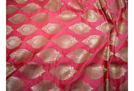 Banarasi blended silk brocade golden design fabric indian wholesale coral brocade by the yard occasion fabric pillow cover brocade outdoor fabric hair crafting brocade tops fabric scrap booking projects brocade