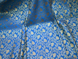 Blue Brocade Fabric by the yard Banarasi Fabric
