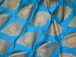 1.75 Meter Banarasi Blue Brocade Wedding Dress Long Skirts Lehenga Making fabric Kurta blouses making Kurtis Hand Purse Wall Décor clothing accessories boutique material