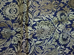 Indian silk wholesale fabric blended navy blue brocade by the yard headband material banarasi vest coat fabric midi dress brocade golden floral design fabric bow tie making brocade online home furnishing fabric