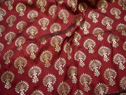 Banaras Brocade fabric by the Yard Indian Fabric Burgundy Brocade Fabric Banarasi Fabric Bridal Wedding Lehenga Dress Fabric