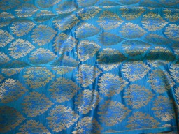 Blue Banarasi Wedding Dress Fabric Sewing Crafting Fabric