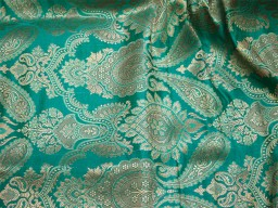 Wholesale online brocade fabric golden design silk brocade blanded see green fabric by the yard indian banarasi brocade dupatta fabric footwear material brocade Fashion Blogger Fabric hat making brocade