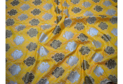 "44"" Beautiful Blended Banarasi Silk Floral Design Golden Woven On Yellow Background Home Decor Clothing Accessories Indian Crafting Sewing Brocade Fabric By The Yard"