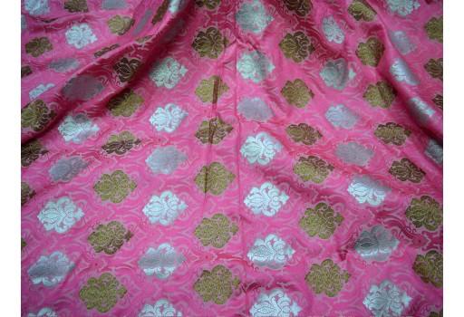 Banaras Brocade Silk Pink Bronze and Silver