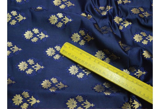 Banarasi navy blue brocade fabric, indian fabric brocade fabric by the yard banaras brocade fabric wedding dress fabric