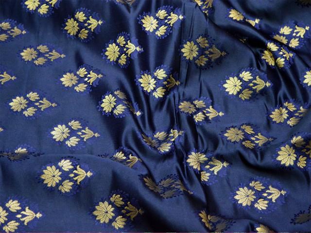 Wholesale online fabric gold floral design silk brocade blanded navy blue fabric by the yard indian banarasi brocade jacket fabric sewing material bridal clutches brocade wedding dress fabric lehenga making brocade