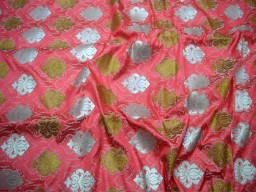 Coral Silk Brocade Fabric Banarasi Silk Brocade Fabric