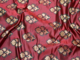 Blended silk brocade floral design banarasi burgundy wedding dress brocade  fabric for party wear making dress brocade