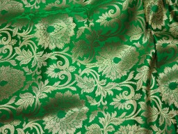 Wholesale online brocade fabric golden design silk brocade blanded green fabric by the yard indian banarasi brocade dupatta fabric footwear material brocade Fashion Blogger Fabric hat making brocade