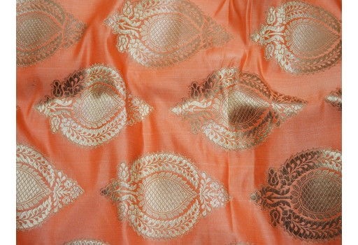 Banarasi Peach Brocade Fabric Indian Fabric Brocade Fabric by the Yard Banaras Brocade Fabric Wedding Dress fabric