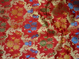 Banarasi silk brocade illustrate multi colour floral design fabric red brocade wholesale fabric by the yard online evening dress material mat making brocade furniture cover fabric sling bag fabric slipper band brocade