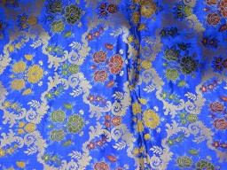 Blue Brocade Fabric by the Yard Bridal Dress Fabric