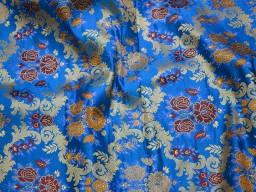 Royal Blue Banarasi Brocade Fabric by the Yard Indian Fabric for Wedding Dress Lehenga Fabric Sewing Crafting Costume Dress Material