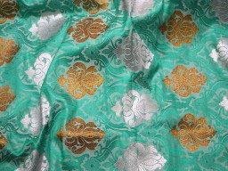 Banaras Brocade Silk Sea Green, Bronze and Silver