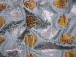Banaras Brocade Silk Grey, Bronze and Silver