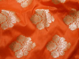 Banarasi Silk Orange Brocade Fabric with gold tone Indian Fabric Silk Brocade Fabric by the Yard Wedding Dress fabric