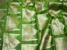 Brocade fabric Taj Mahal design fabric in Parrot Green and Gold