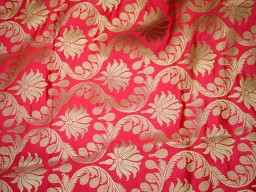 Banaras Brocade Silk Pinkish Red and Gold