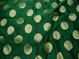 Blended silk brocade mandala design fabric in Green and Gold