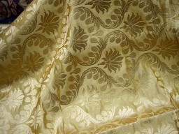 Beige Brocade Fabric Crafting Indian Brocade Fabric
